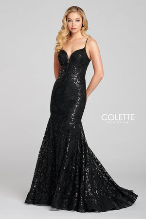 Colette CL12121 prom dress images.  Colette CL12121 is available in these colors: Raven.