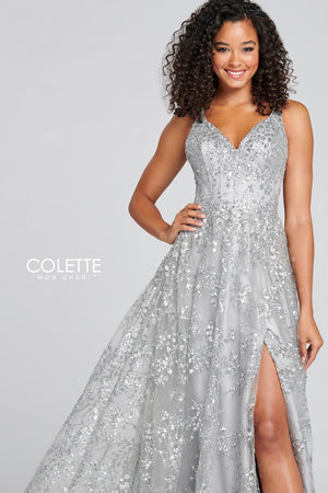 Colette CL12122 prom dress images.  Colette CL12122 is available in these colors: Silver, Periwinkle.