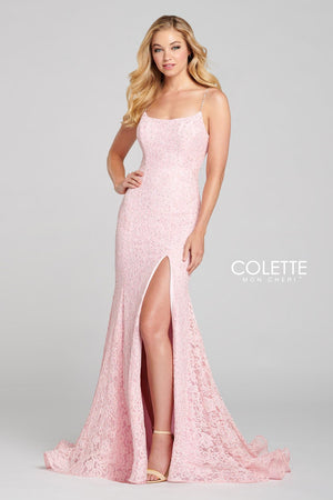 Colette CL12124 prom dress images.  Colette CL12124 is available in these colors: Pink.
