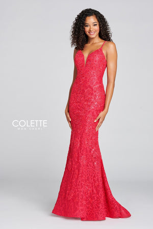 Colette CL12126 prom dress images.  Colette CL12126 is available in these colors: Stawberry.