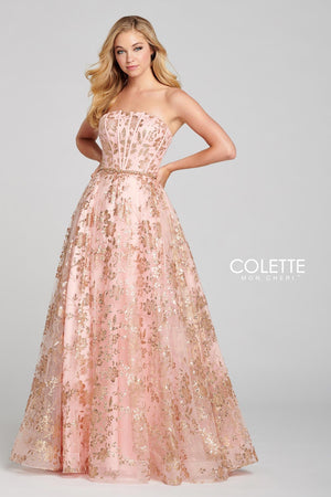 Colette CL12127 prom dress images.  Colette CL12127 is available in these colors: Gold Pewter, Gold Pink.
