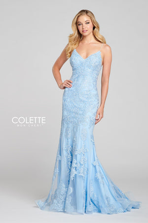 Colette CL12128 prom dress images.  Colette CL12128 is available in these colors: Sky Blue, Evergreen, Aubergine.