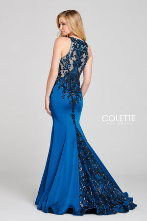 Colette CL12132 prom dress images.  Colette CL12132 is available in these colors: Deep Ocean, Bordeaux.