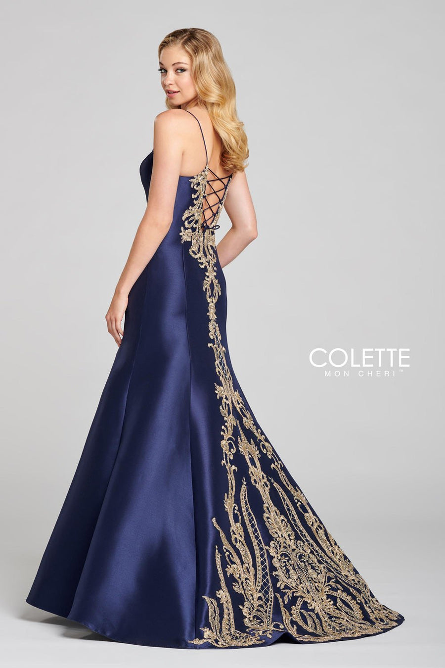Colette CL12133 prom dress images.  Colette CL12133 is available in these colors: Midnight Gold, Fuchsia.