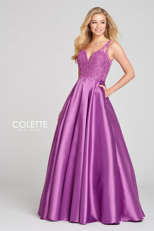 Colette CL12134 prom dress images.  Colette CL12134 is available in these colors: Emerald, Orchid.