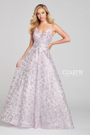 Colette CL12135 prom dress images.  Colette CL12135 is available in these colors: Blue Silver, Blush Silver.