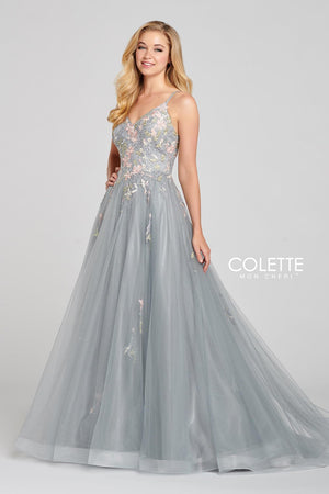 Colette CL12138 prom dress images.  Colette CL12138 is available in these colors: Platinum Multi, Pink Multi, Ivory Multi.