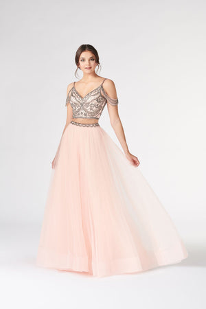 Colette CL19807 prom dress images.  Colette CL19807 is available in these colors: Blush Steel, Violet Steel, Yellow.