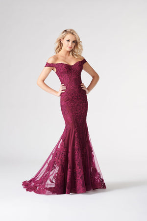 Colette CL19814 prom dress images.  Colette CL19814 is available in these colors: Charcoal, Aqua, Cranberry.