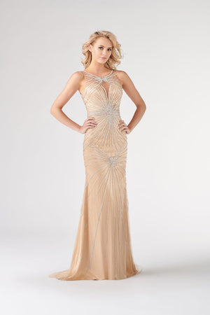 Colette CL19854 prom dress images.  Colette CL19854 is available in these colors: Silver Nude.