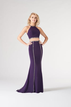 Colette CL19857 prom dress images.  Colette CL19857 is available in these colors: Plum Steel.