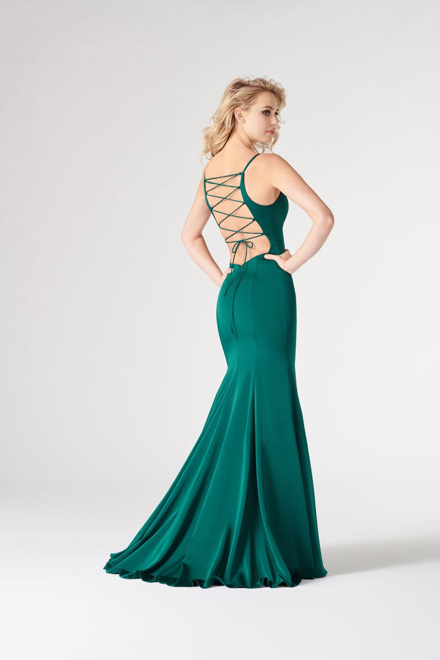 Colette CL19860 prom dress images.  Colette CL19860 is available in these colors: Navy Blue, Spruce, Plum.