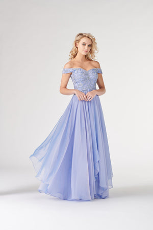 Colette CL19865 prom dress images.  Colette CL19865 is available in these colors: Periwinkle, Rose Pink.