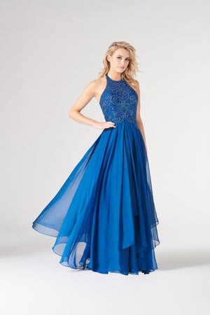 Colette CL19867 prom dress images.  Colette CL19867 is available in these colors: Sapphire, Berry.