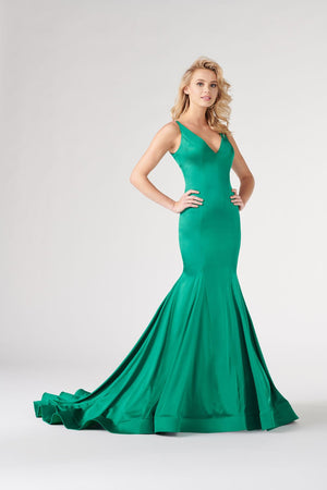 Colette CL19868 prom dress images.  Colette CL19868 is available in these colors: Black, Scarlet, Heather, Cobalt Blue, Emerald.