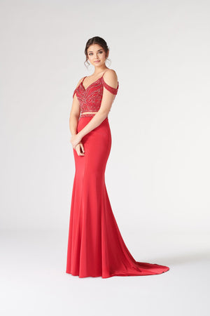 Colette CL19869 prom dress images.  Colette CL19869 is available in these colors: Red, Royal Blue.