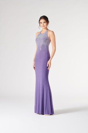 Colette CL19870 prom dress images.  Colette CL19870 is available in these colors: Amethyst, Scarlet.