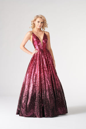 Colette CL19872 prom dress images.  Colette CL19872 is available in these colors: Fuchsia Plum, Silver Copper, Sage Hunter .