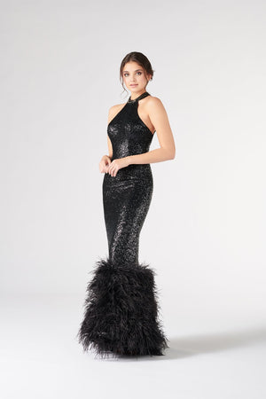 Colette CL19873 prom dress images.  Colette CL19873 is available in these colors: Black.