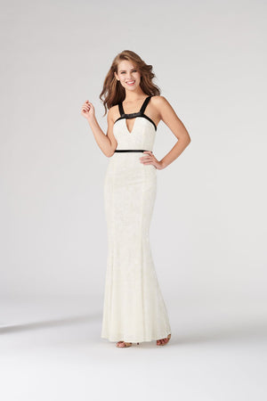 Colette CL19874 prom dress images.  Colette CL19874 is available in these colors: Ivory Black, Scarlet Black.
