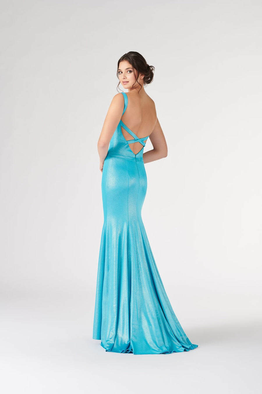 Colette CL19877 prom dress images.  Colette CL19877 is available in these colors: Turquoise, Silver, Coral, Emerald, Black, Fuchsia.