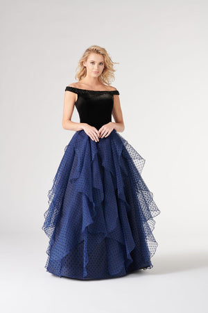Colette CL19881 prom dress images.  Colette CL19881 is available in these colors: Black Navy Blue.