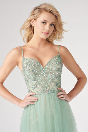 Colette CL19883 prom dress images.  Colette CL19883 is available in these colors: Pink Nude, Sage Nude.
