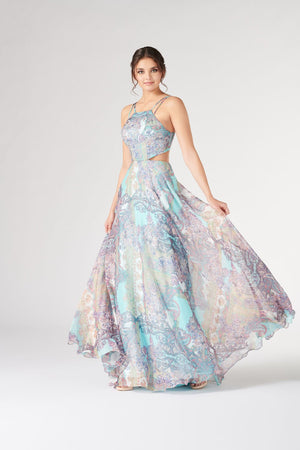 Colette CL19884 prom dress images.  Colette CL19884 is available in these colors: Blue Multi.