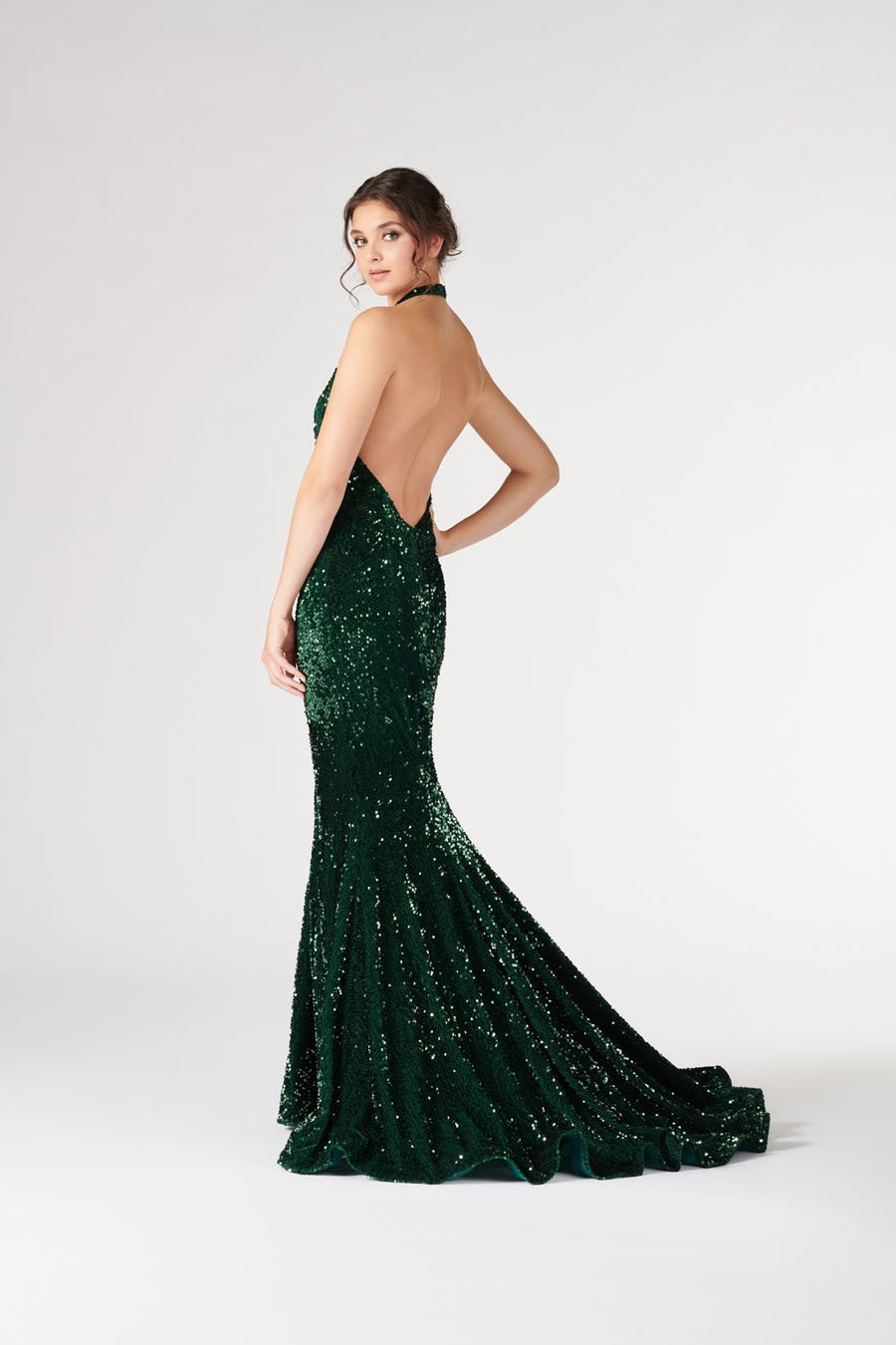 Colette CL19890 prom dress images.  Colette CL19890 is available in these colors: Wine, Emerald, Navy Blue.