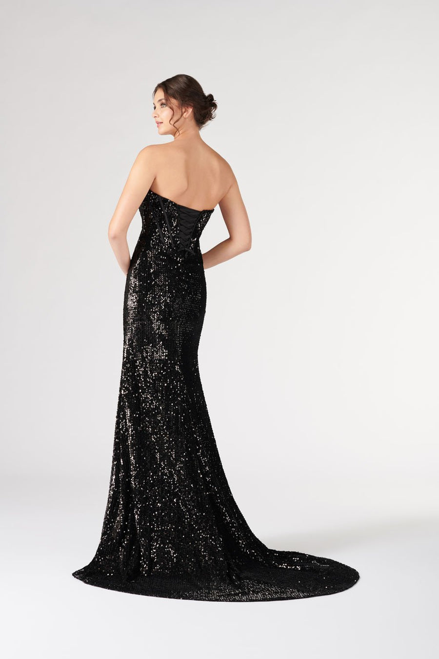 Colette CL19891 prom dress images.  Colette CL19891 is available in these colors: Black, Burgundy .