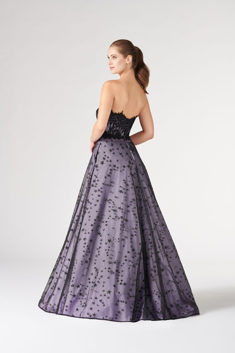 Colette CL19895 prom dress images.  Colette CL19895 is available in these colors: Black Lilac.