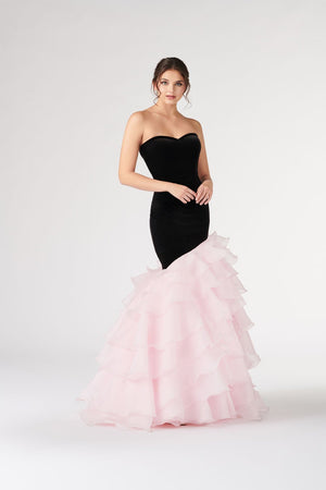 Colette CL19896 prom dress images.  Colette CL19896 is available in these colors: Black Pink.