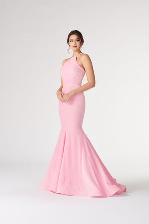 Colette CL19897 prom dress images.  Colette CL19897 is available in these colors: Pink, Canary, Navy Blue, Burgundy.