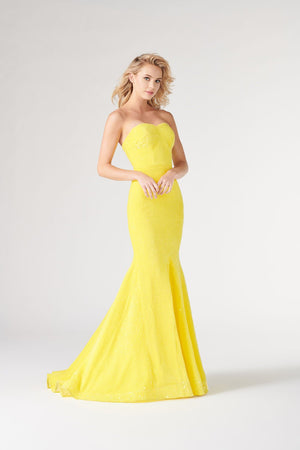 Colette CL19898 prom dress images.  Colette CL19898 is available in these colors: Canary, Pink, Navy Blue, Burgundy.