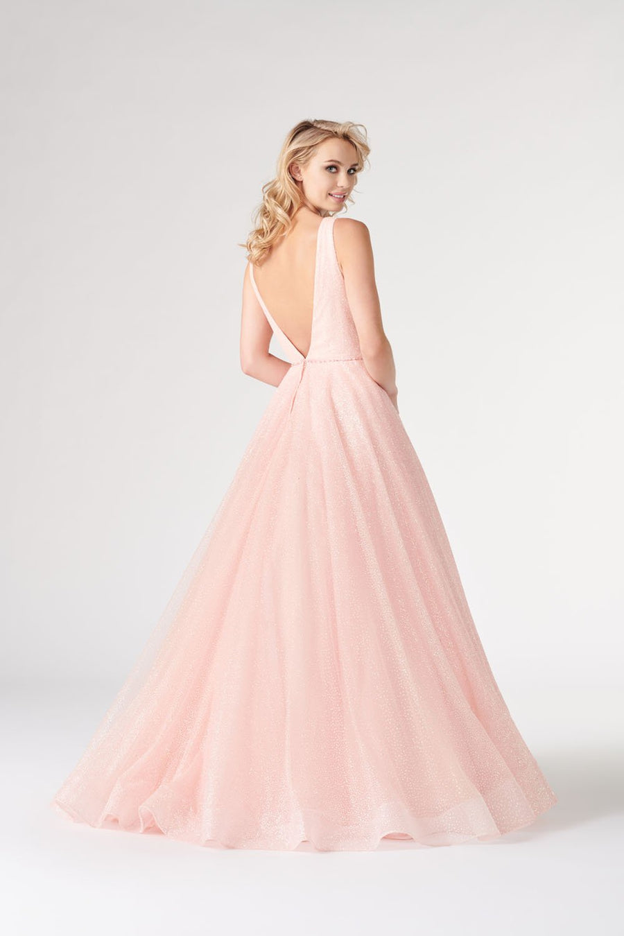 Colette CL19905 prom dress images.  Colette CL19905 is available in these colors: Pink, Emerald, Silver.