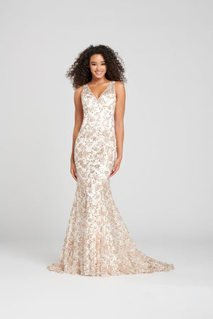 Colette CL12010 prom dress images.  Colette CL12010 is available in these colors: Ivory Gold, Black Gold.