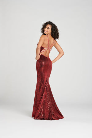 Colette CL12025 prom dress images.  Colette CL12025 is available in these colors: Scarlet, Black.
