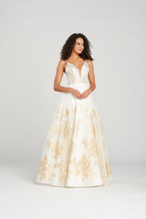 Colette CL12036 prom dress images.  Colette CL12036 is available in these colors: Ivory Gold.