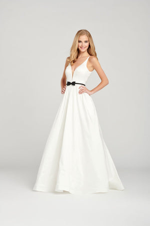 Colette CL12050 prom dress images.  Colette CL12050 is available in these colors: Diamond White Black.