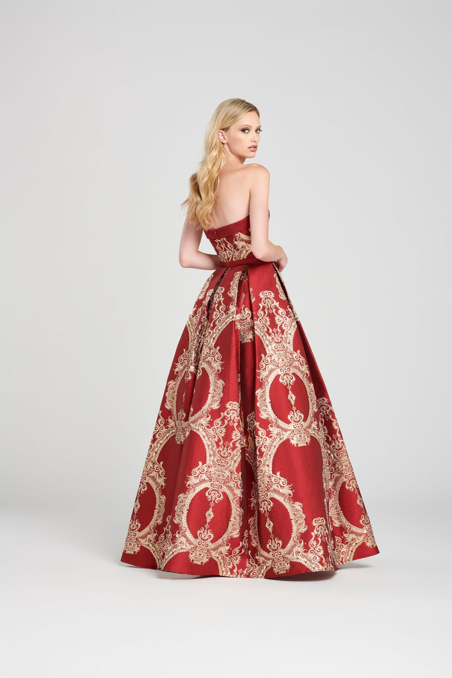 Colette CL12054 prom dress images.  Colette CL12054 is available in these colors: Burgundy Gold, Black Silver.