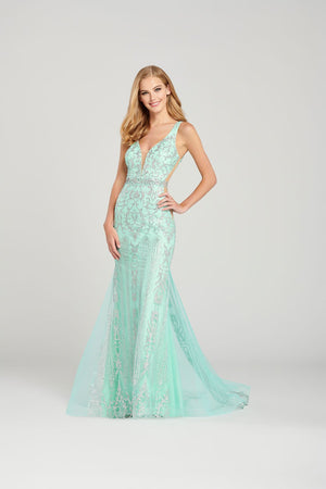 Colette CL12063 prom dress images.  Colette CL12063 is available in these colors: Pink Silver, Mint Silver, White Silver.