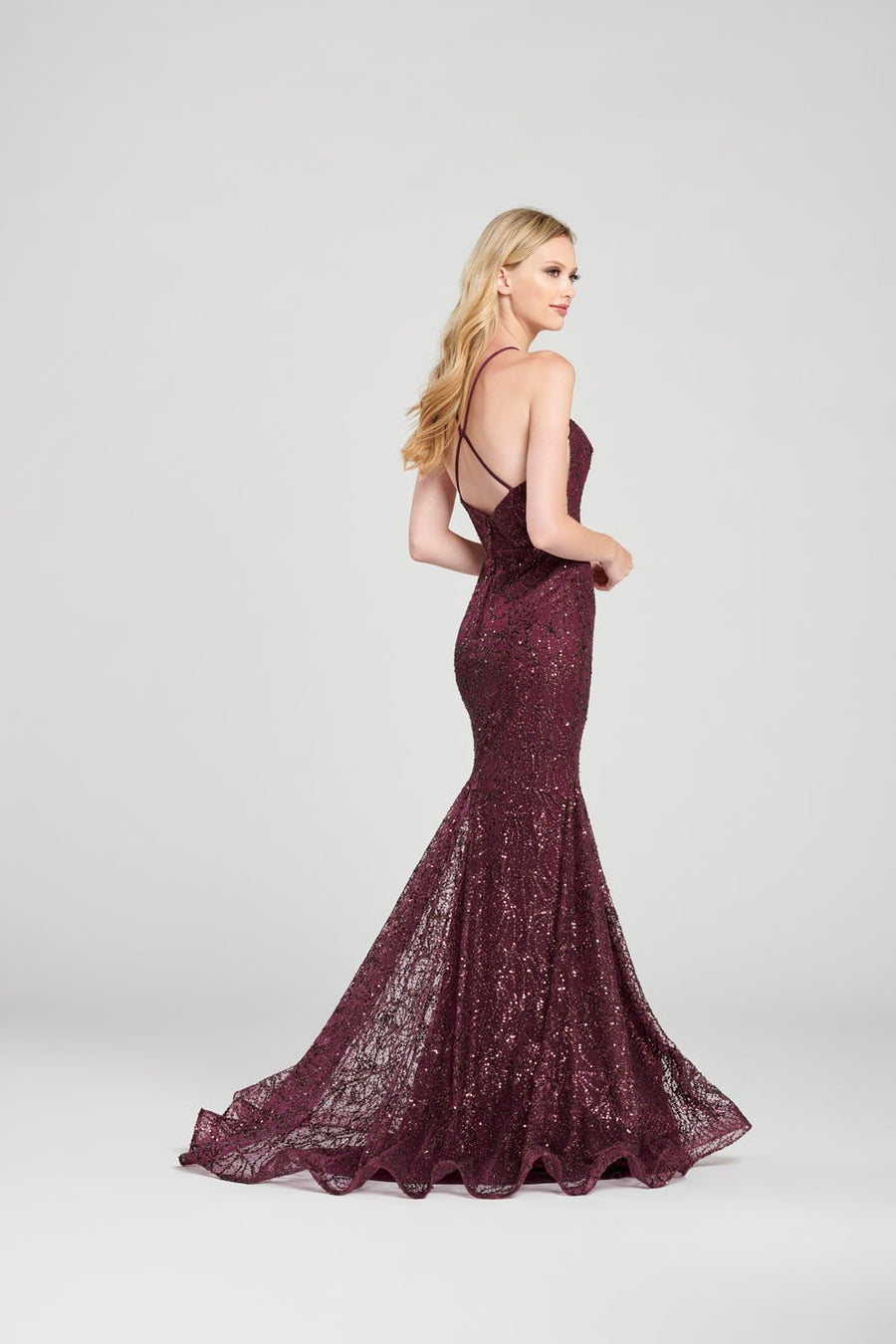 Colette CL12074 prom dress images.  Colette CL12074 is available in these colors: Emerald, Navy Blue, Plum.