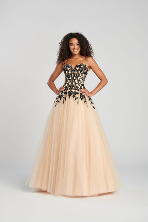Colette CL12083 prom dress images.  Colette CL12083 is available in these colors: Black Nude, Scarlet Nude.