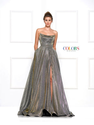 Colors Dress 2078 prom dress images.  Colors 2078 dresses are available in these colors: Charcoal Multi, Gold Multi, Lilac Multi, Royal Multi.