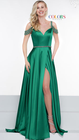 Colors Dress 2109 prom dress images.  Colors 2109 dresses are available in these colors: Light Blue, Emerald, Sapphire Blue, Off White, Yellow.