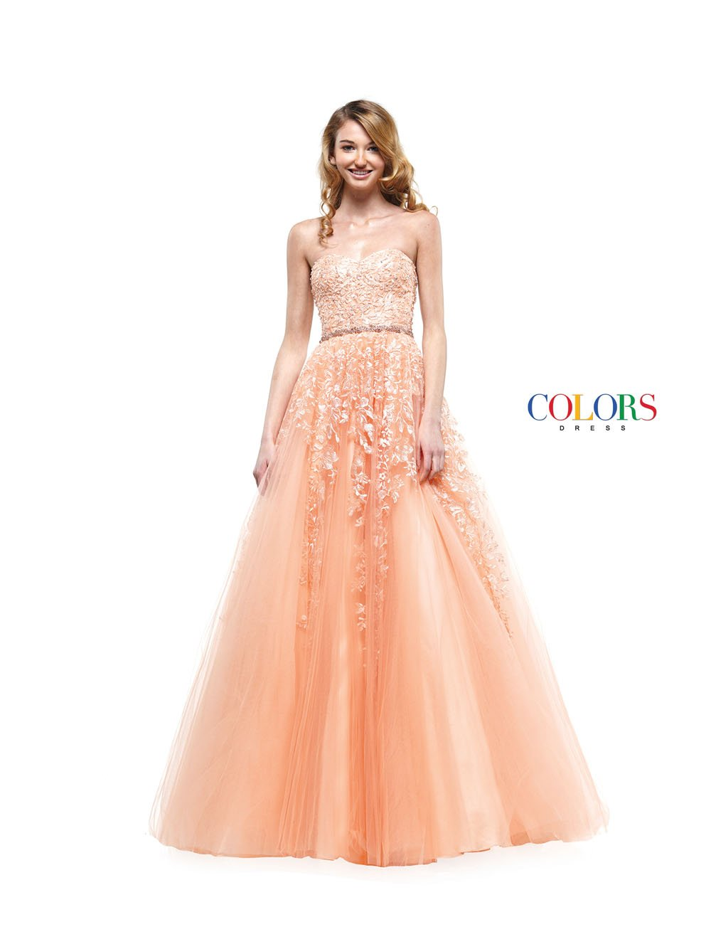 Colors Dress 2154 prom dress images.  Colors 2154 dresses are available in these colors: Apricot, Baby Blue, Off White.