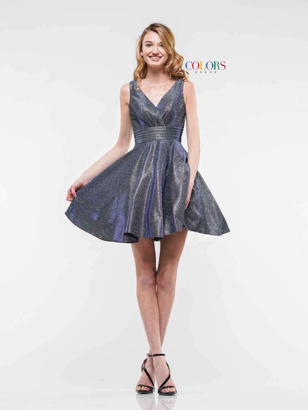 Colors Dress 2160 prom dress images.  Colors 2160 dresses are available in these colors: Lilac Multi, Royal Multi.