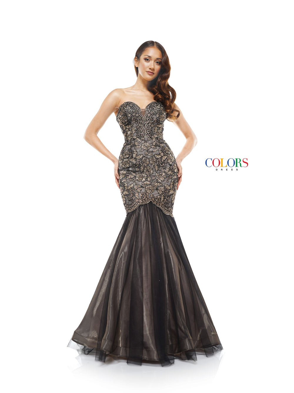 Colors Dress 2163 prom dress images.  Colors 2163 dresses are available in these colors: Black Gold, Black Silver.