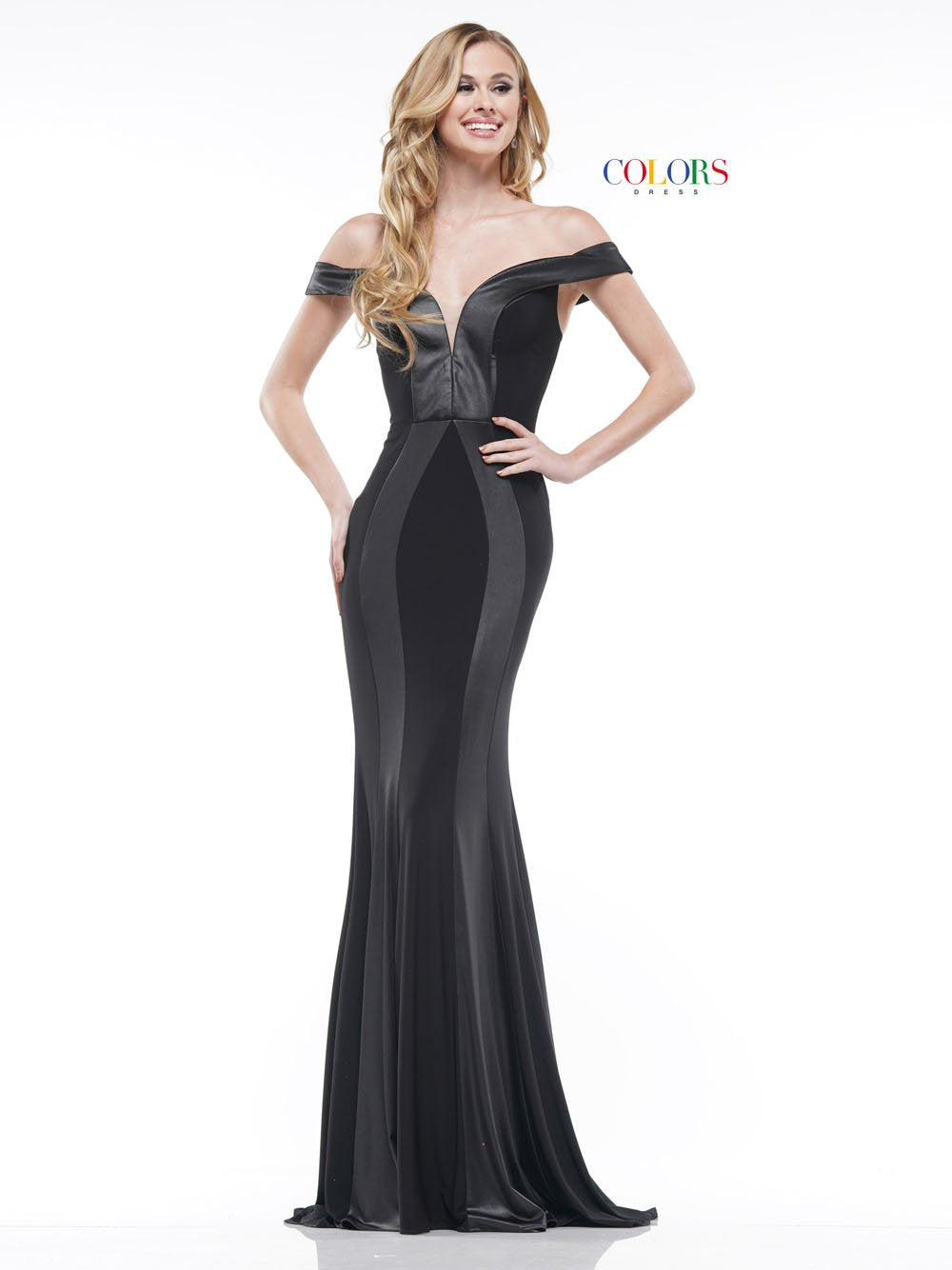 Colors Dress 2185 prom dress images.  Colors 2185 dresses are available in these colors: Black, Navy, Red.