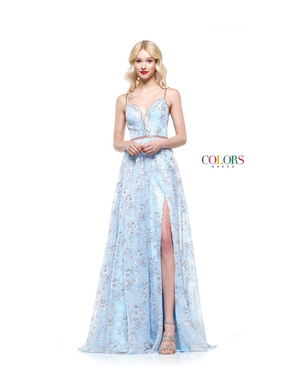 Colors Dress 2186 prom dress images.  Colors 2186 dresses are available in these colors: Mint Blue, Rose Gold, Silver.